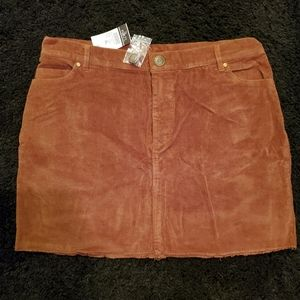🧡NWT Cognac Raw Hem Corduroy Mini Skirt